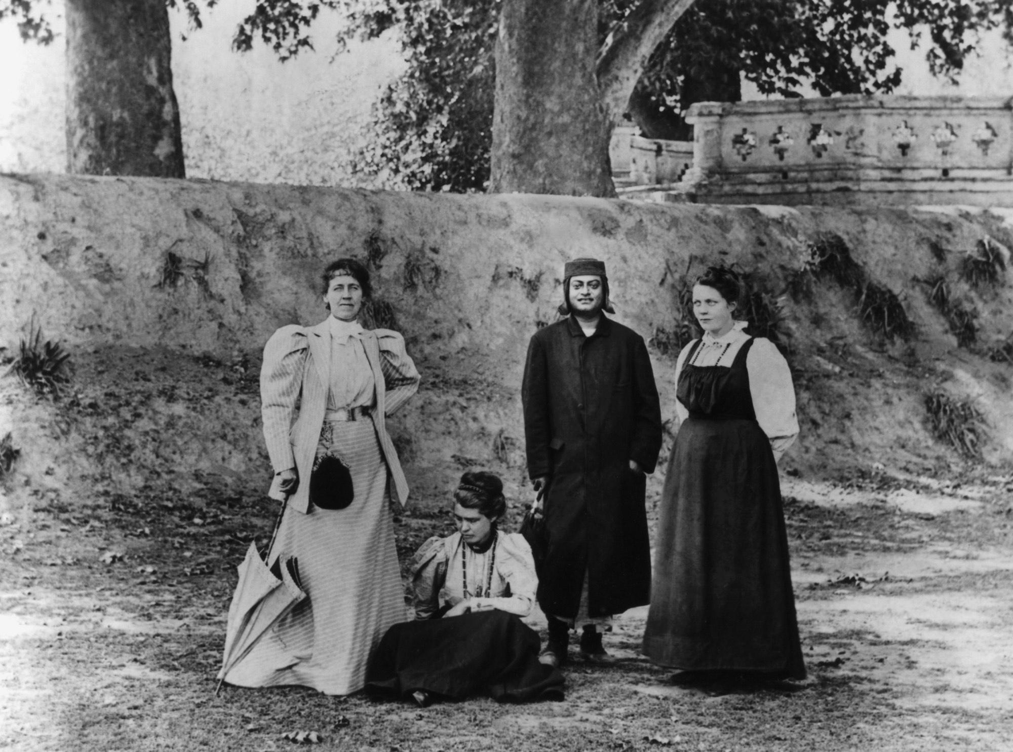 (#69) Kashmir, 1898. (From L): Josephine MacLeod, Mrs. Ole Bull, Swamiji, Sister Nivedita.