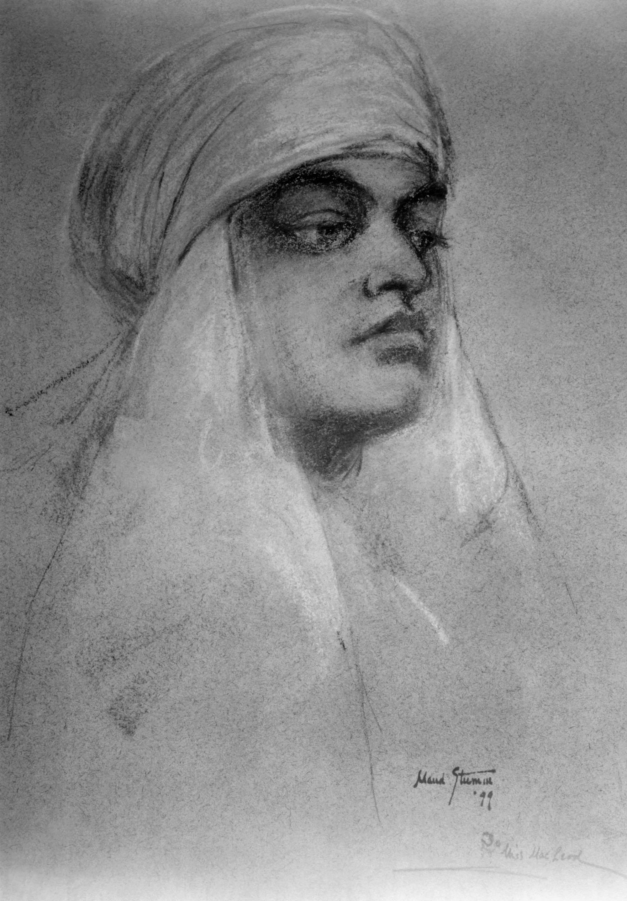 (#79) Ridgely Manor, New York. September 1899. This is a pastel drawing of Swamiji  au Bedouin  by a young artist, Maud Stumm, who was one of the house guests at Ridgely. Swamiji took a few drawing lessons from her and later drew a portrait of Swami Turiyananda. Alas, we don't have a copy of it.