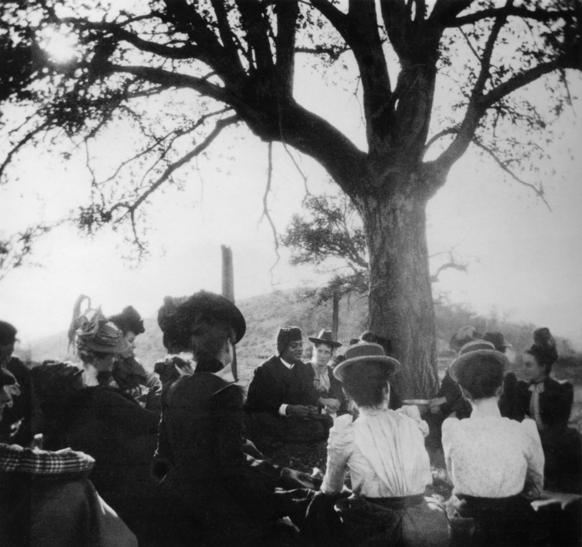 """(#84) South Pasadena, California. January 1900. Picnic atop a hill now known as """"Monterey Hill,"""""""