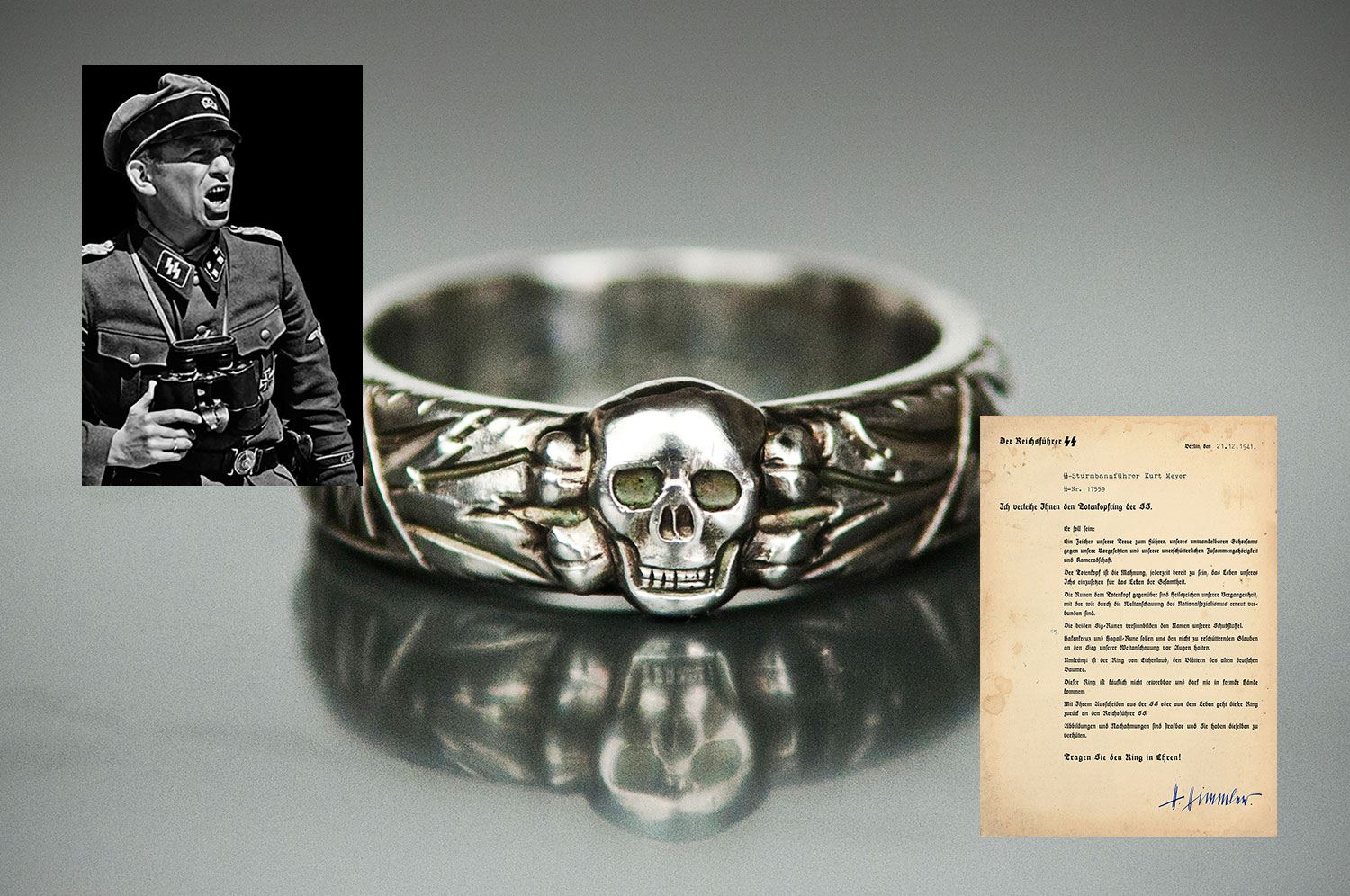 The Panzer Meyer SS Honor Ring & SS Document Set