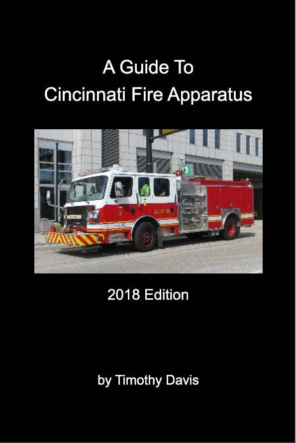 """A Guide To Cincinnati Fire Apparatus - 2018 Edition - A comprehensive visual guide to current Cincinnati Fire Department apparatus and recent purchase history. The book features color photos and detailed specification information for all regular frontline companies and the diverse array of specialized equipment operated by the department.48 pages with 78 full-color photos.Print size 6"""" x 9"""", available as soft cover or pdf."""