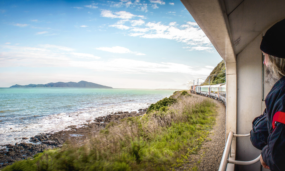 The Coastal Pacific Train connects Picton with Christchurch and passes through Kaikoura on the East Coast of New Zealand - this is a daily service and operates during the Summer months only.