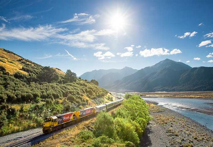 The TranzAlpine Train connects Christchurch with Greymouth on the West Coast of New Zealand. Leaves Christchurch early morning and stops in Greymouth for an hour before returning to Christchurch on the same day.