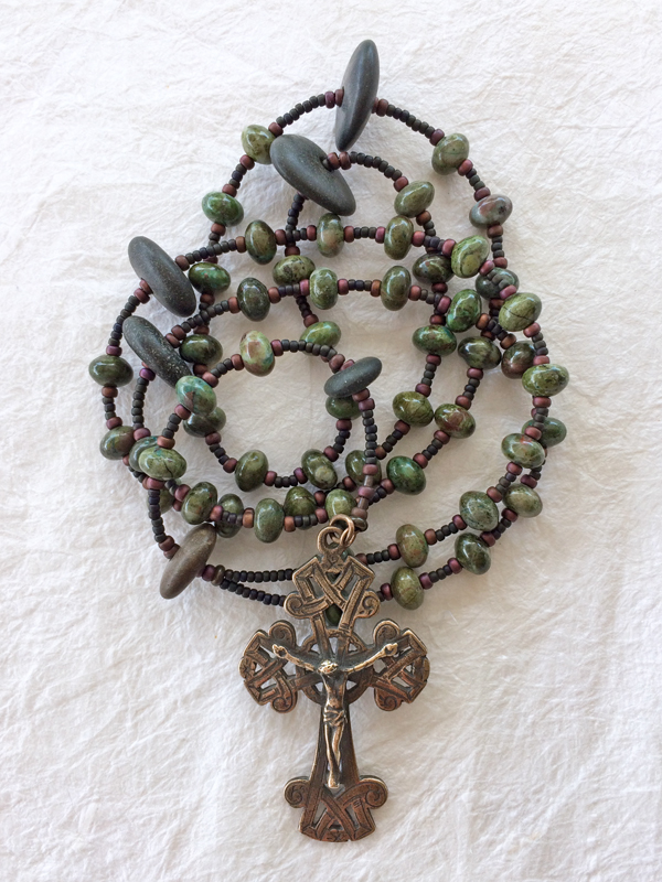 """""""Stones and Moss"""" - Celtic rosary handmade of natural pebbles and rhyolite - by Still Stone and Moss, Prayer Bead Art - - Inspired by Psalm 46:10 - """"Be still and know that I Am"""""""
