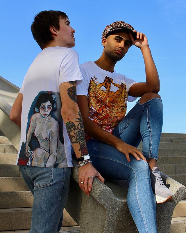 """On sale this week: Our T-shirt """"Anita"""" comes with a handmade print of the painting """"Anita"""" and our T-shirt """"La folie d'un faune"""" - limited to 50 pieces - with a print of a unique graphic of """"La folie d'un faune"""" by Wolfgang Beltracchi. Both T-shirts are made of pure Pima cotton. . . . Models: @mrfteden, @kingmarvilicious 📷 @tamitamirumba  #beltracchi #tshirt #rebelwithlove #art #fashion #design"""