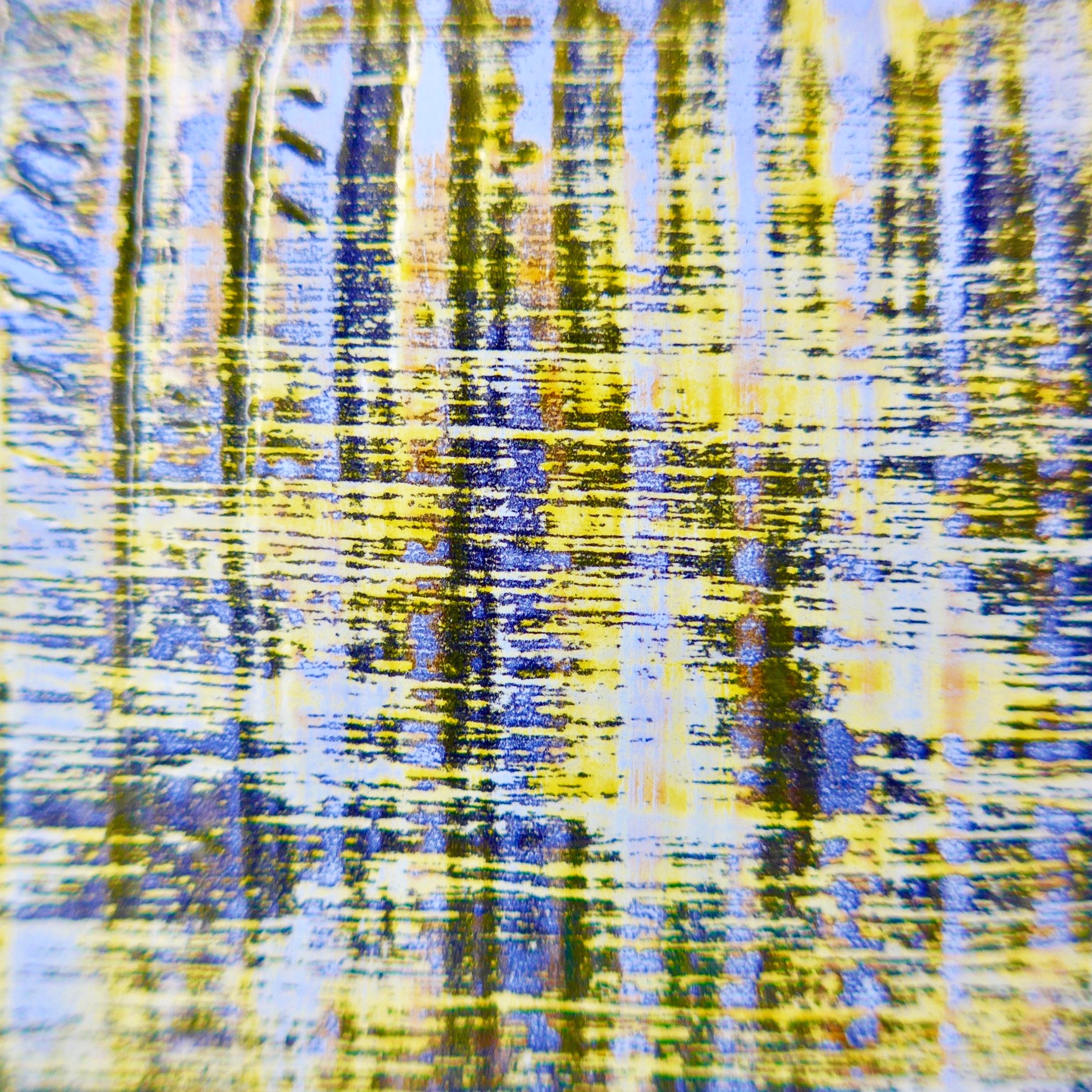 This piece is built up of layers of black and white enamels, which have been scraped and brushed through horizontally and vertically several times, with a final yellow pigment applied