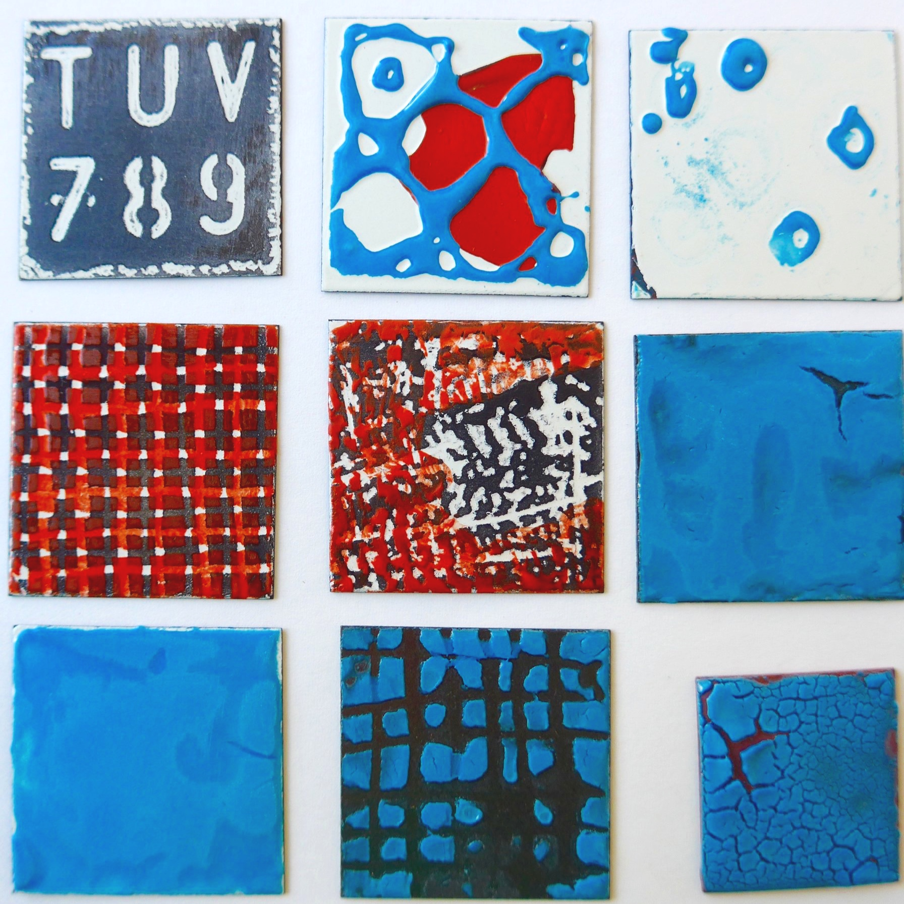 Stencils, layering and sgraffito, 'enamels for steel' applied to copper and vice versa.