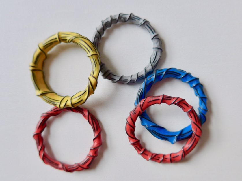 Iron wire rings sealed and coloured with sugru
