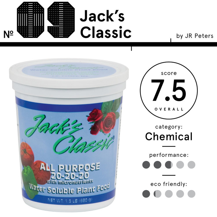 Image of Jack's Classic brand chemical fertilizer, listed as the 9th best chemical fertilizer with an overall score of 7.5.