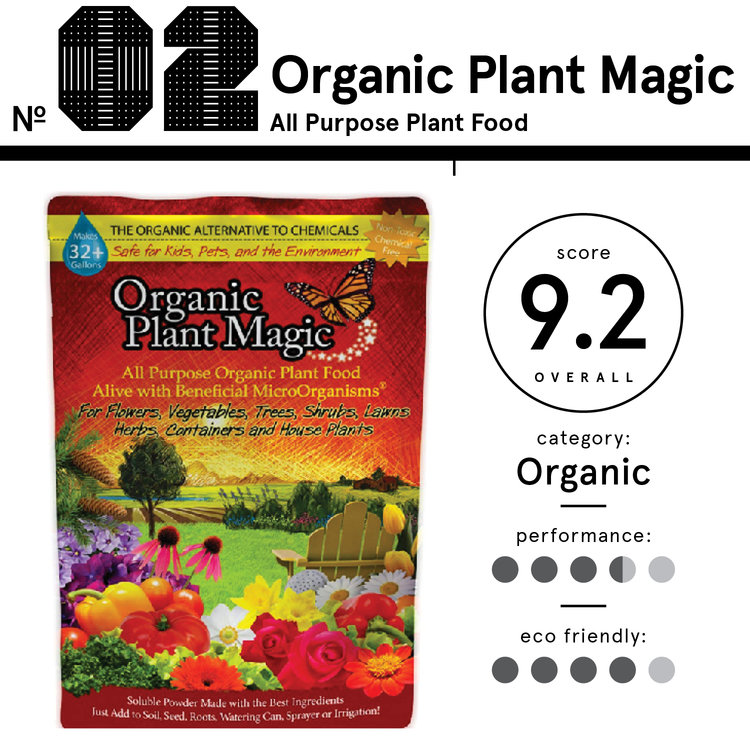 Image of Organic Plant Magic brand fertilizer, listed as 2nd best organic fertilizer with an overall score of 9.2.