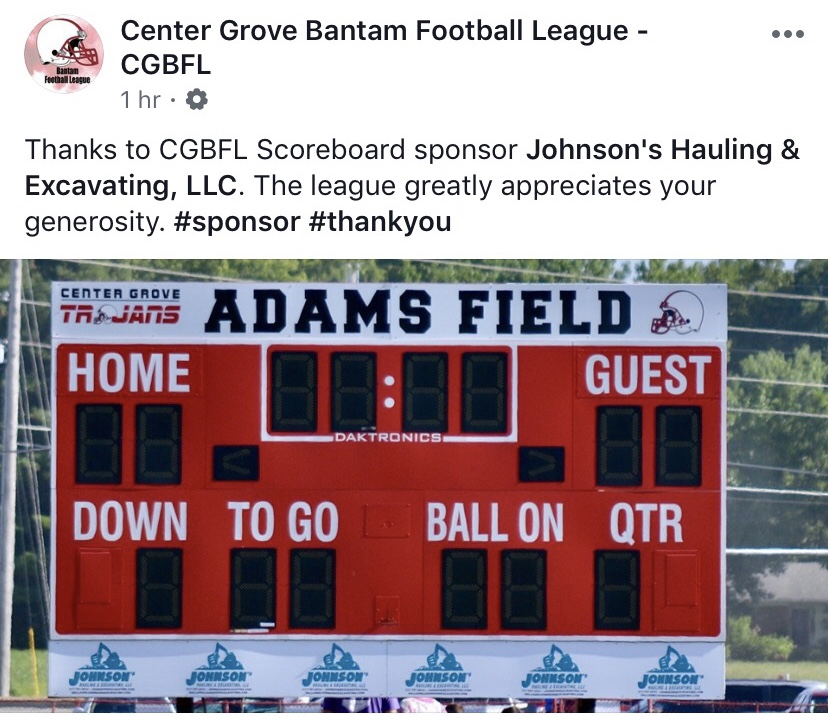 Proud sponsor of Center Grove Bantam Football, Center Grove Basketball, Indian Creek Fishing, Arlo's Journey, Center Grove Education Foundation & Johnson County Hoofprints.