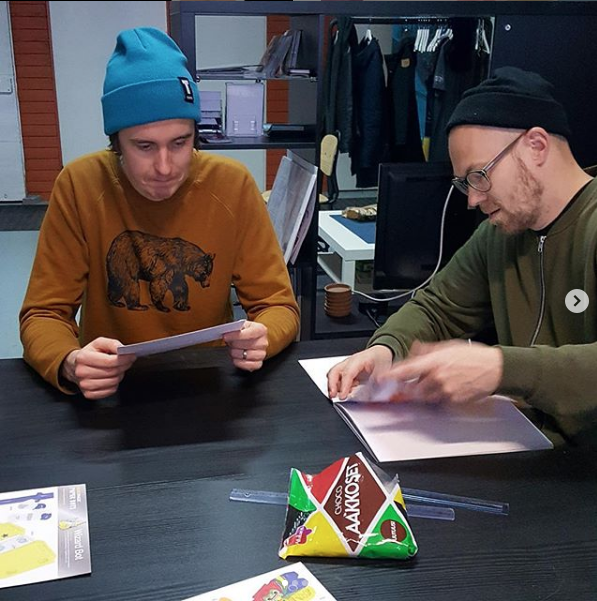 Our friends in Finland enjoyed taking a break from computer screens to play around with paper bots. - @ Mainostoimisto Tuhti