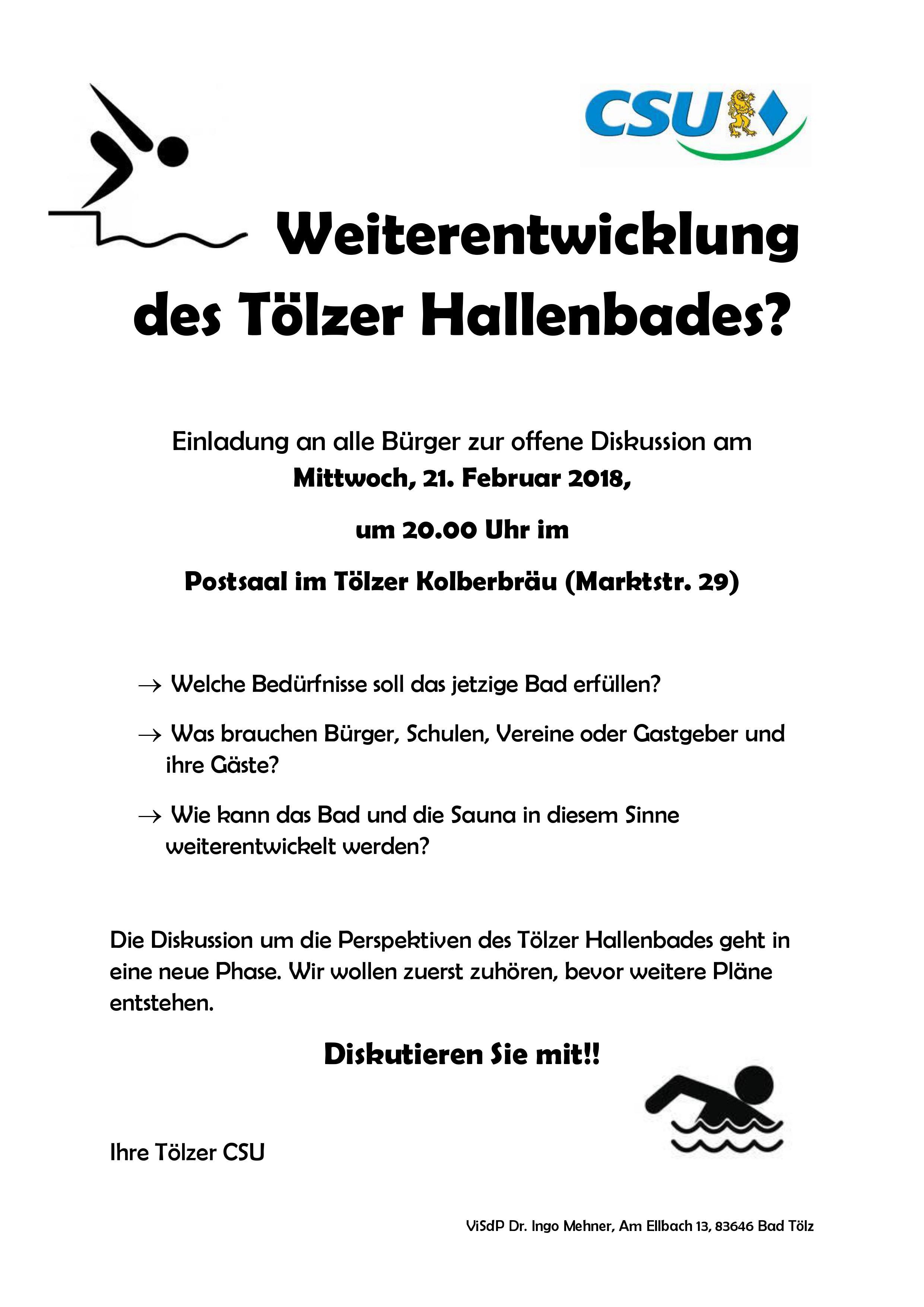 Einladung der CSU - zum Gespräch über das Hallenbad