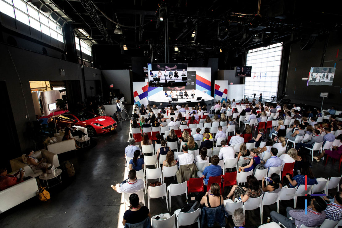 A panel speaks during day two of Healthfront 2019 on Wednesday, July 17, 2019 at the Classic Car Club in New York, NY.