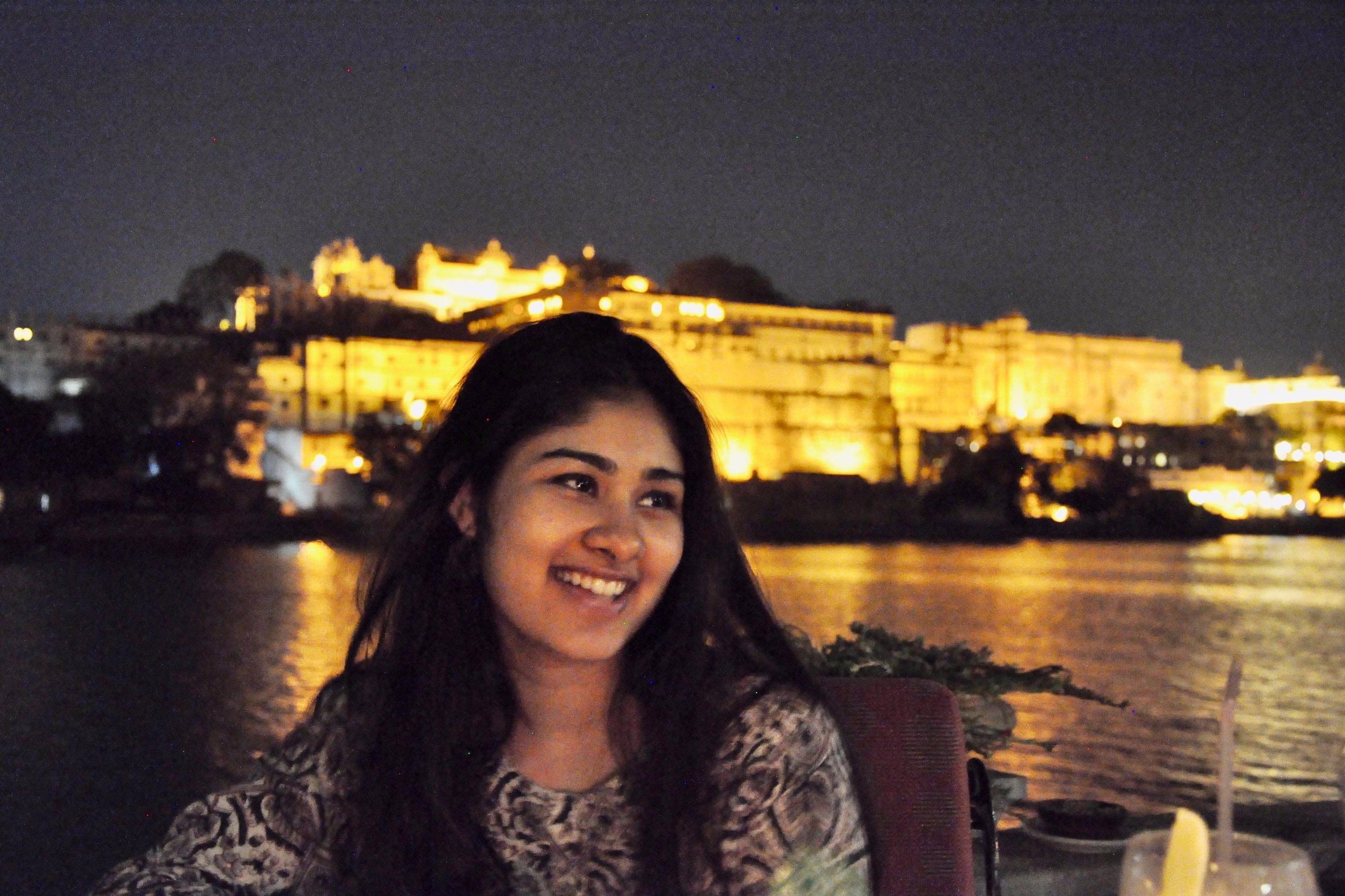Riya Haria sitting by the water
