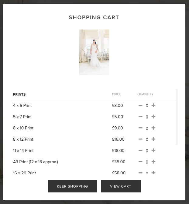 Clicking the shopping cart icon on any picture will give you a list of available print sizes.