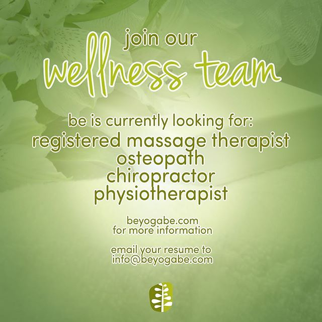 BE is expanding! 💆🏽‍♀️ We're currently looking for a Registered Massage Therapist, Osteopath, Chiropractor and Physiotherapist to help us expand our Wellness Team. ☀️ If you're certified and you're looking to work in a beautiful and serene space, send us your resume at info@beyogabe.com 🌿 We look forward to hearing from you! ✨ • • • #burlONT #hiring #beyoga #yogalove #wellness #selfcare #rmt #osteopath #burlingtonontario #physio #physiotherapist #osteopathy #beyogawellness