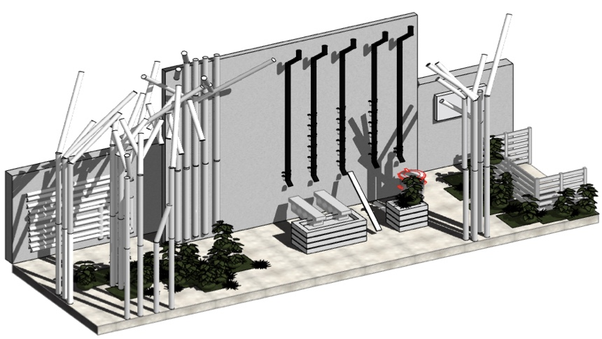 Exhibition for VA SYD - lots of pipes - set up for both ändor and outdoor exhibitions - sketch in archicad