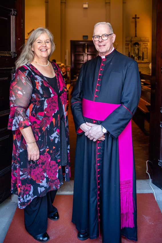 Mrs Georgina Brazier and Lincoln NE diocese's vicar for religious, Monsignor Timothy Thorburn.