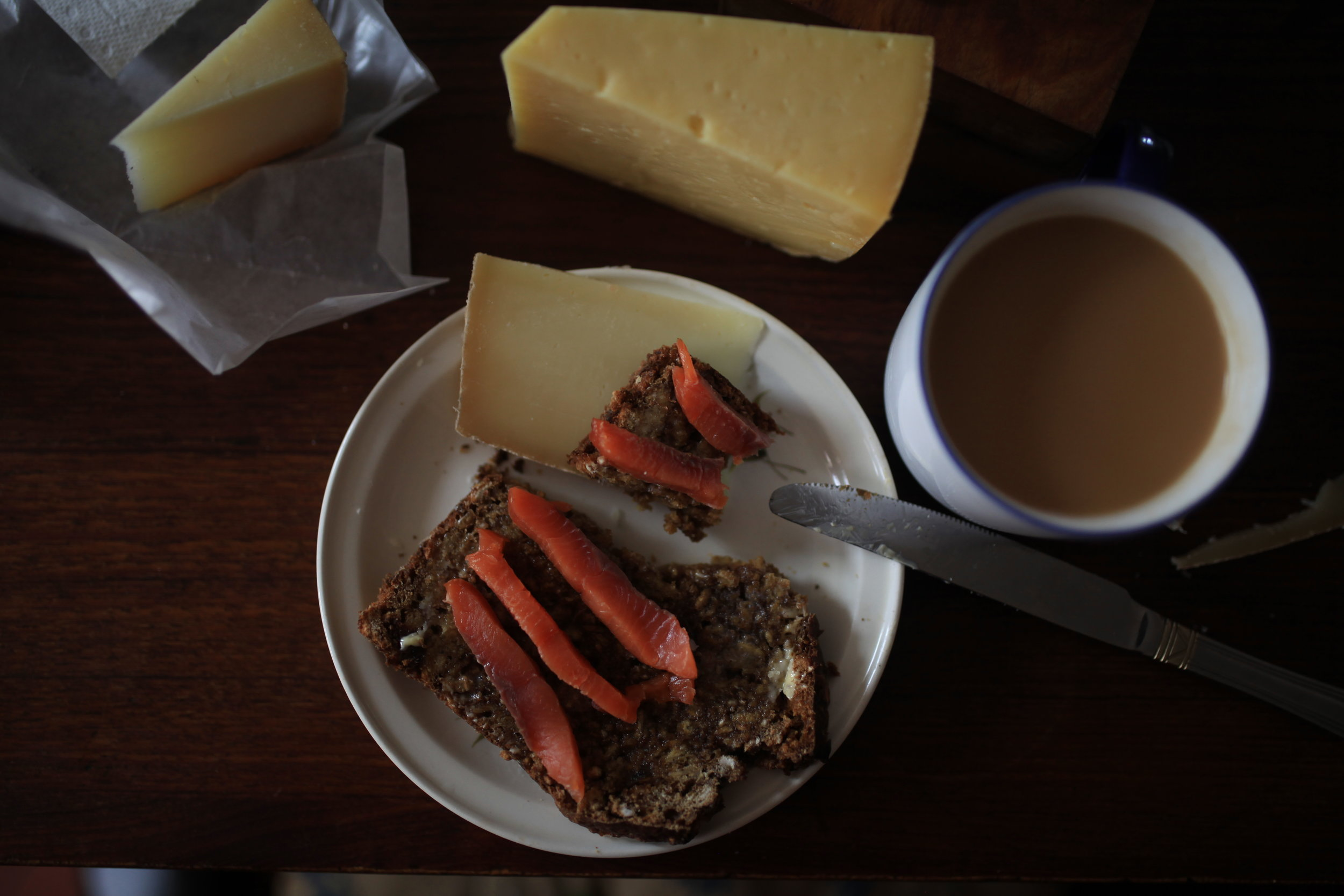 The best way to enjoy the wild salmon: Soda bread, good salted butter and a cup of tea.