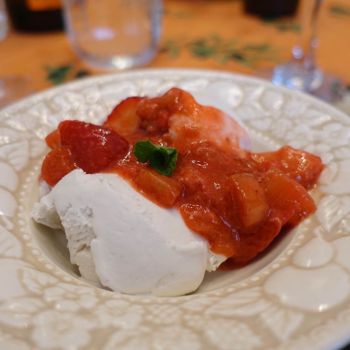 Strawberry Rhubarb Compote with Coconut Ice Cream