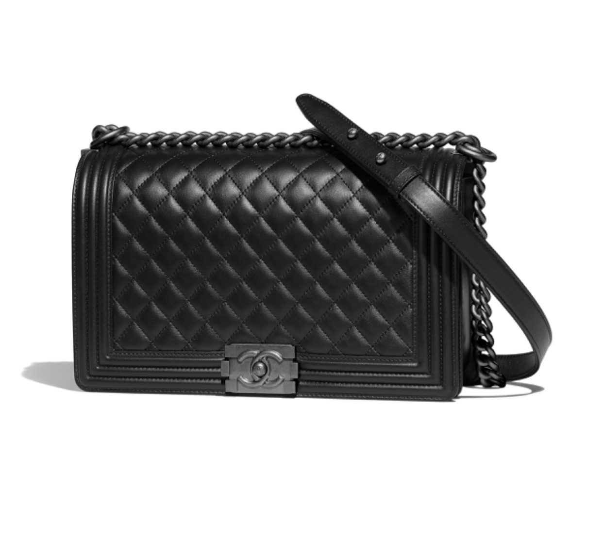 Chanel Large (or Medium) Boy Handbag Calfskin w. Ruthenium Metal
