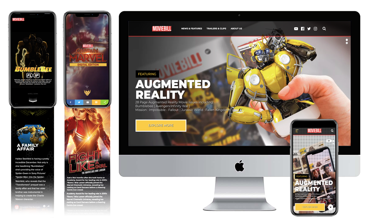 Website UX/UI Design - Moviebill.com | Captain Marvel Digital Edition | Bumblebee Digital Edition