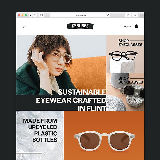 UI and branding for Genusee—the sustainable eyewear brand crafted in Flint.