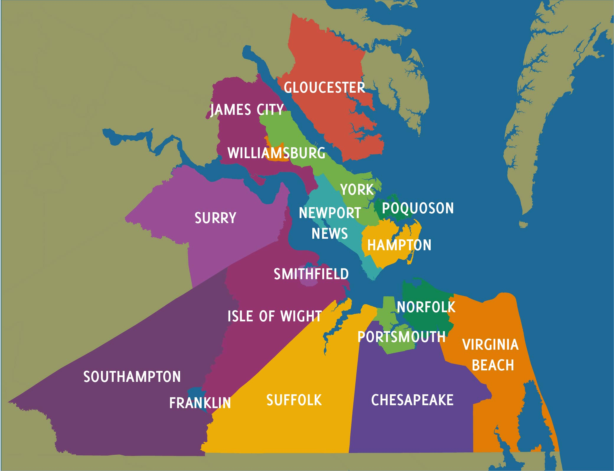 The 17 jurisdictions in our region.