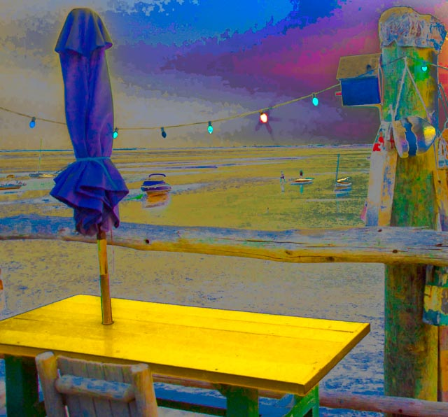 Provincetown: Yellow Table with Blue Umbrella