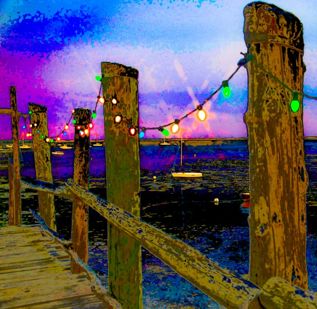 Provincetown: Pier Posts with Xmas Lights