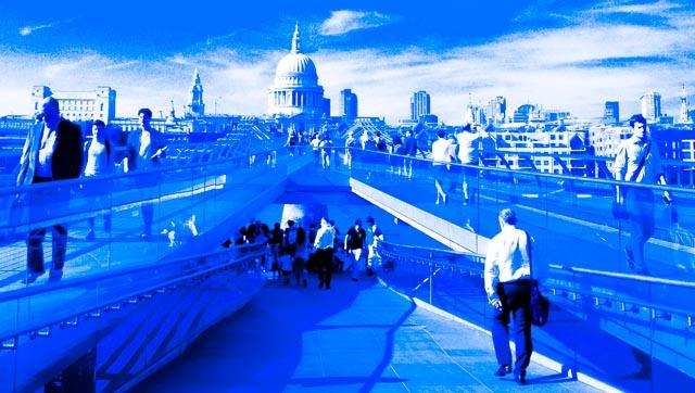 London Millennium Bridge in Black and Blue
