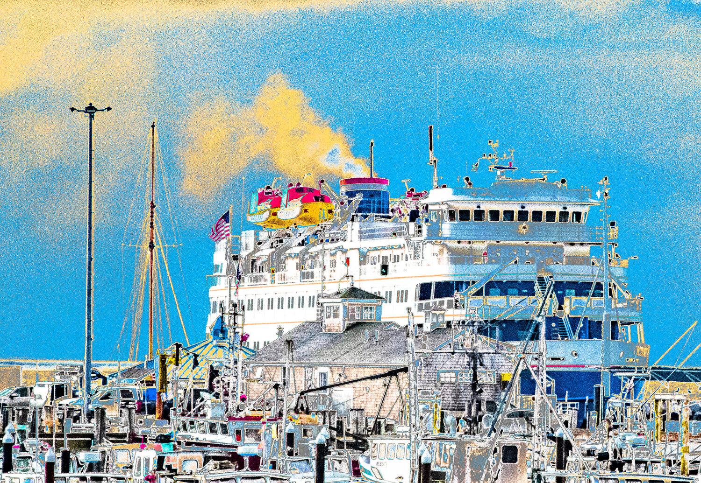 Provincetown Cruise Ship with Yellow Smoke