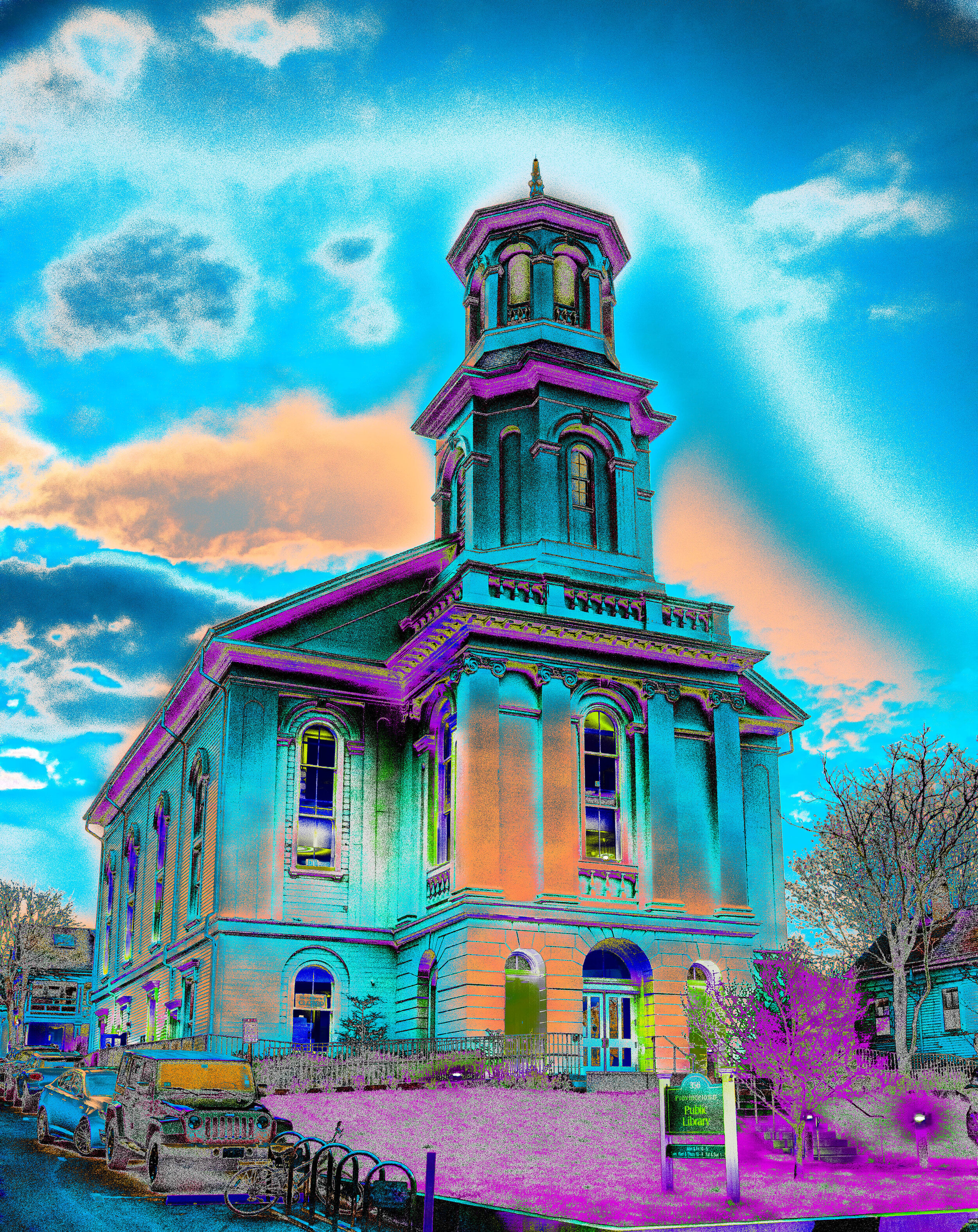 Provincetown Library in Blue/Orange