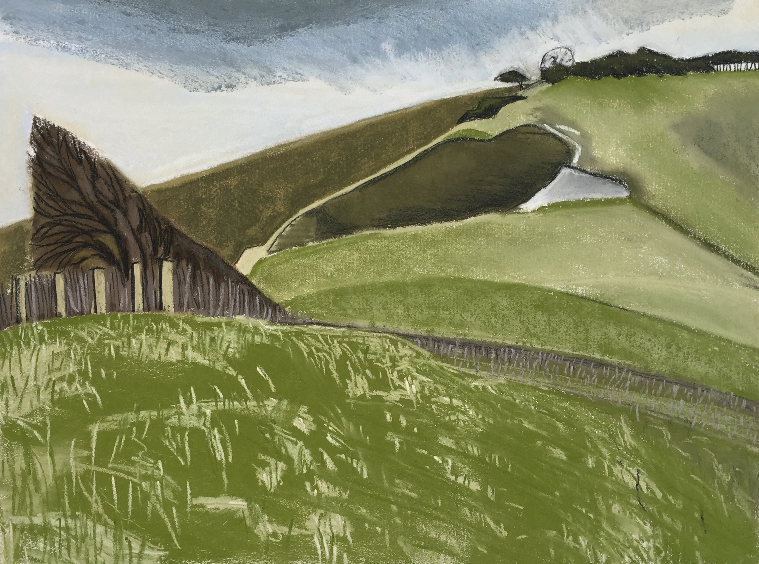 - Series of 15 drawings of the South Downs for GlyndebourneMay- September 2017 www.glyndebourne.con