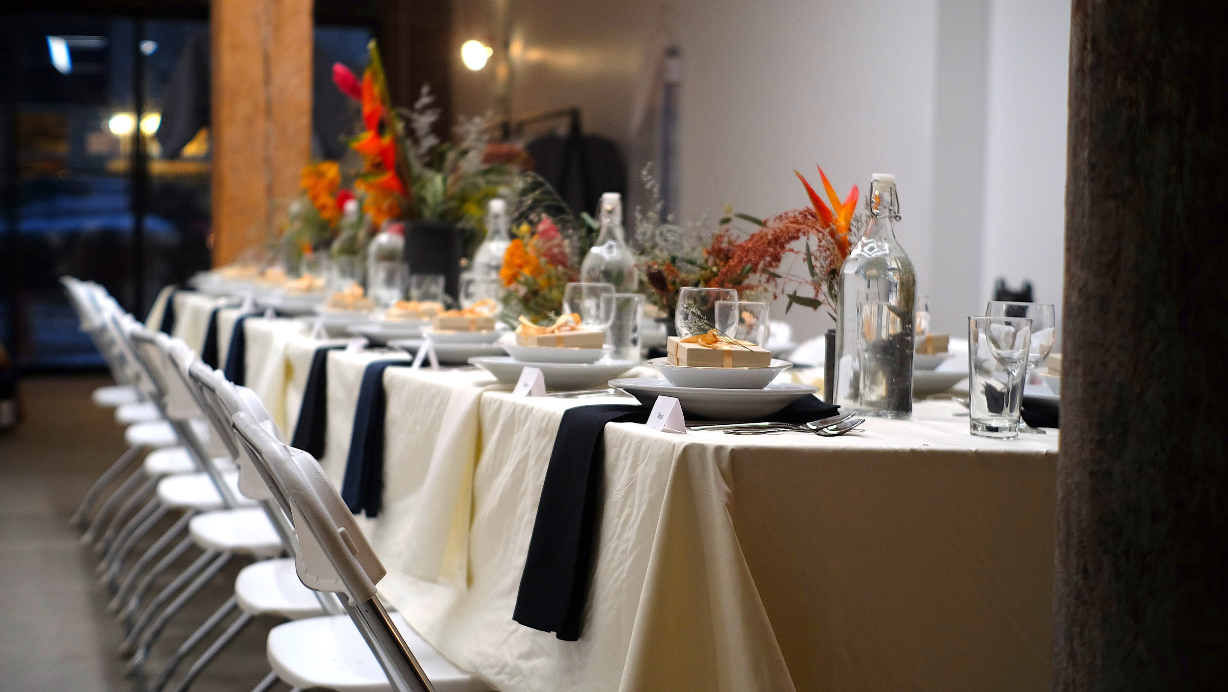 Large tables accommodate many guests in beautiful Brooklyn Neighborhood