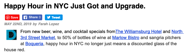 Happy Hour in NYC Just Got and Upgrade