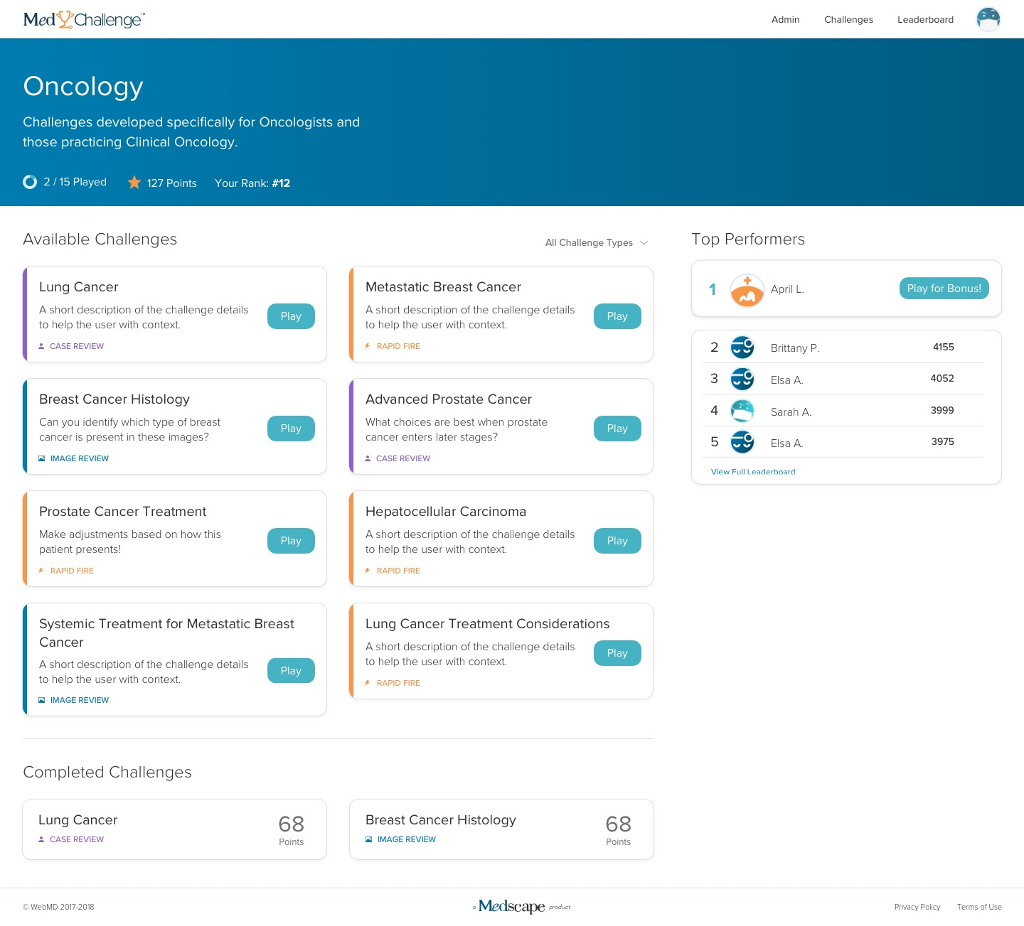 The new MedChallenge dashboard