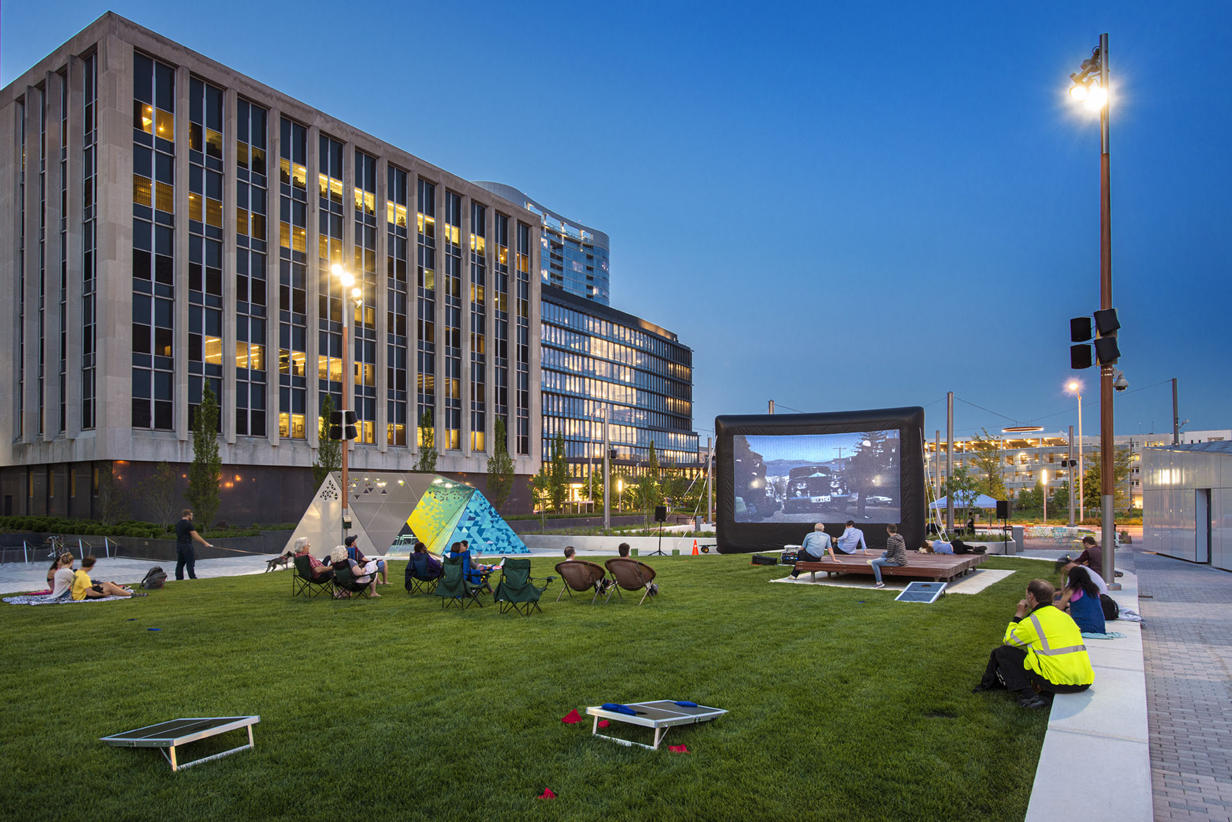 Take in a film on the lawn.  Image by Daniel Showalter/REA.