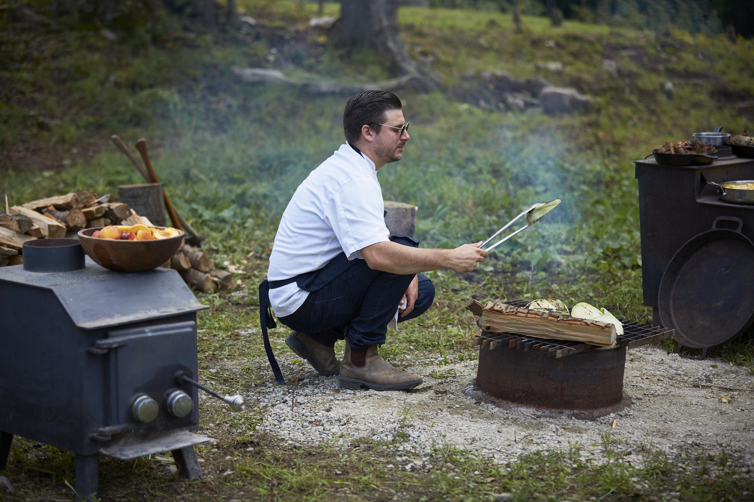 Chef Jeremy Austin Prepping for harvest dinner C., 2019