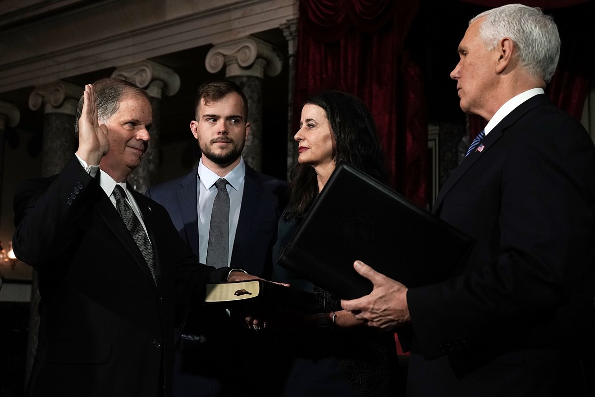 "Doug Jones's Son Carson Joins the Side-Eye Hall of Fame in Mike Pence Photo Op - VOGUE - ""On Wednesday, new Alabama senator Doug Jones was sworn in by Vice President Mike Pence—but cameras were focused on Jones's openly gay son Carson who joined the side-eye hall of fame with the look he tossed at Pence, who has an infamously anti-gay record, during the ceremony, cutting the VP down to size without interrupting what was a triumphant event for the Jones family and the Democratic Party nationwide.""LINK TO STORY"