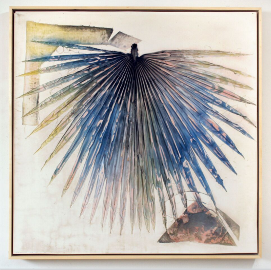 Commissioned work, Erin Morrison, Acid Palm no.2 (2016) - Oil, ink and wax on gypsum cement in maple frame, 29.25 x 29.25 inchesSanta Monica home