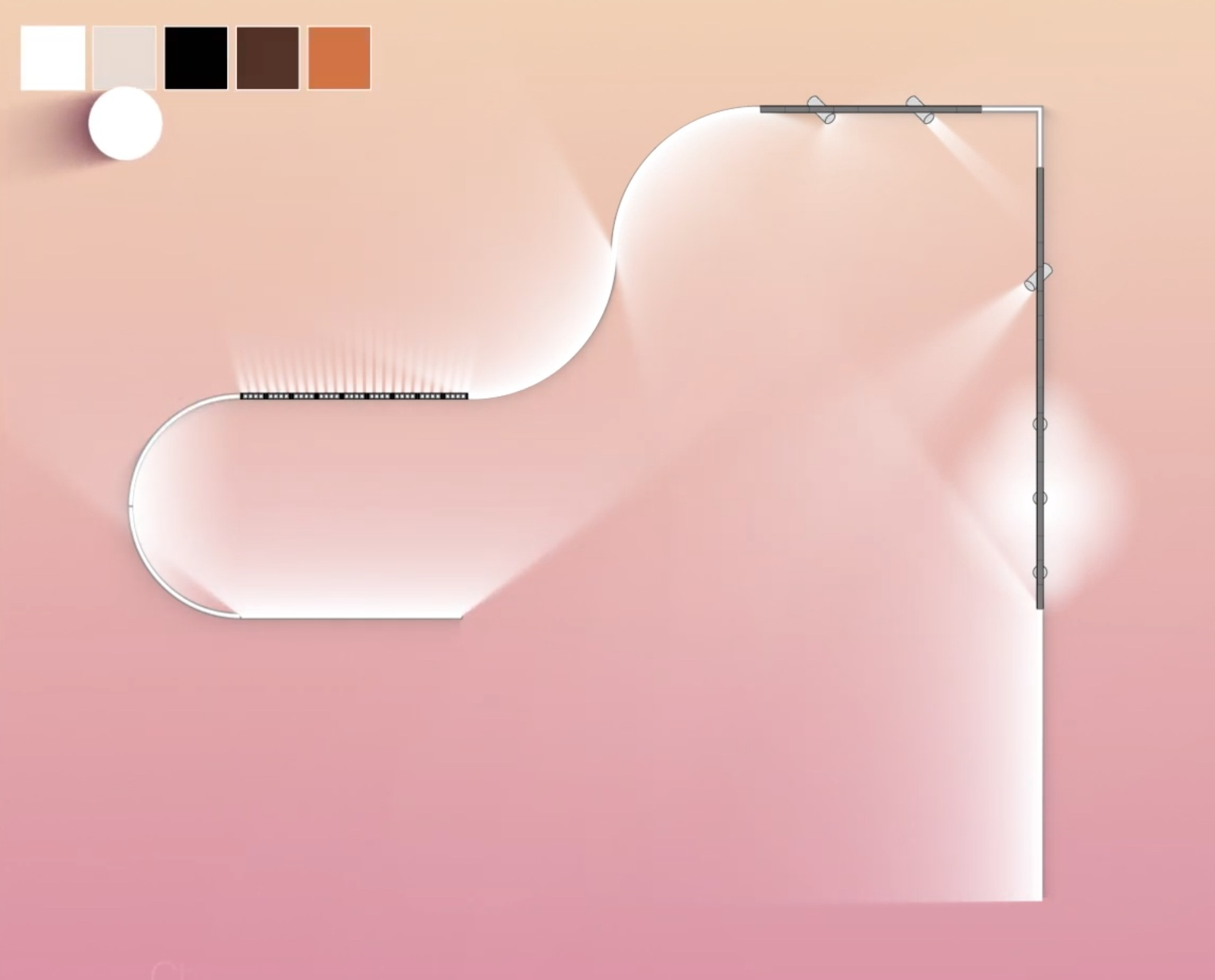 Light system configurator A.24 by   Artemide   .  Users design the path of their lighting system and its type of light (spot, diffuse or emissive).