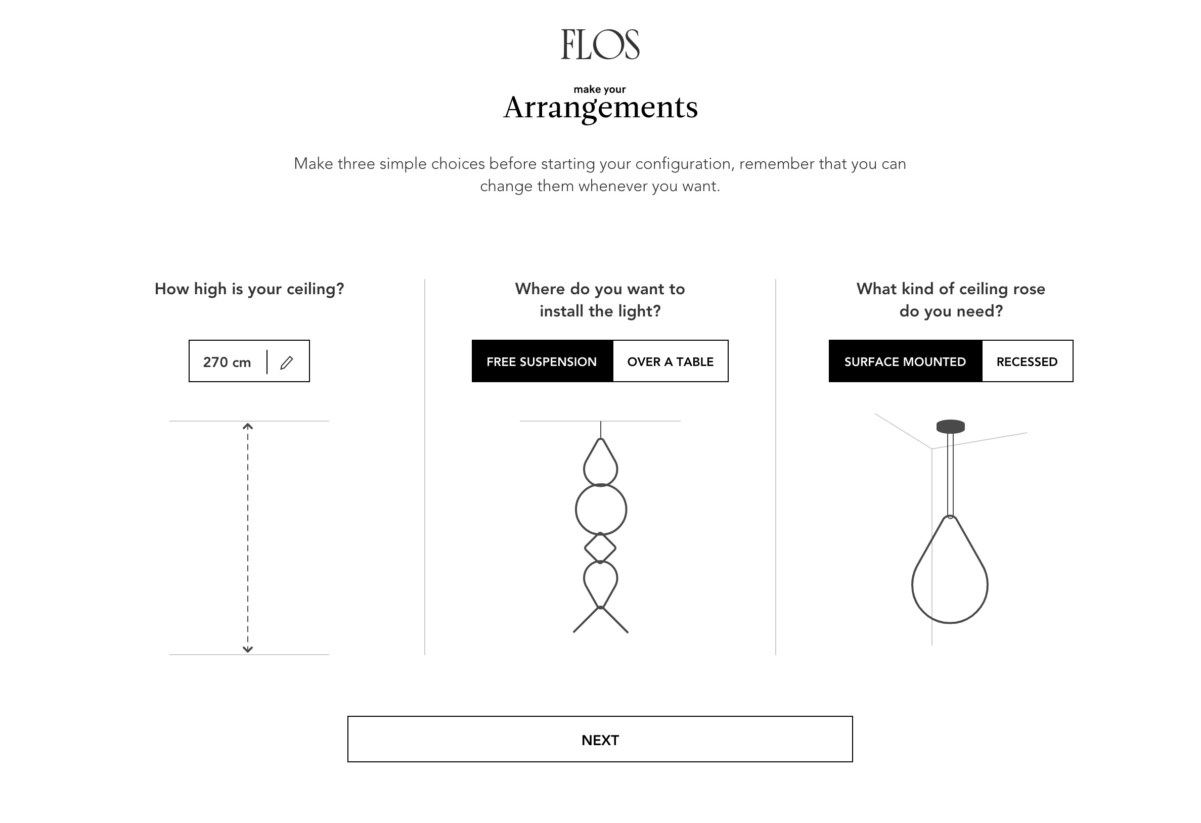 Arrangements Configurator by   Flos   .  Users adapt existing products to their space.