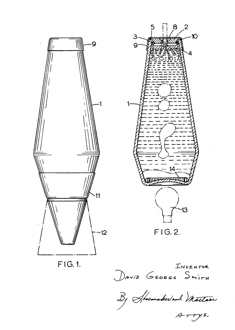 U.S. Patent n°3387396, for the first lava lamp.    Smith David George   , 1964