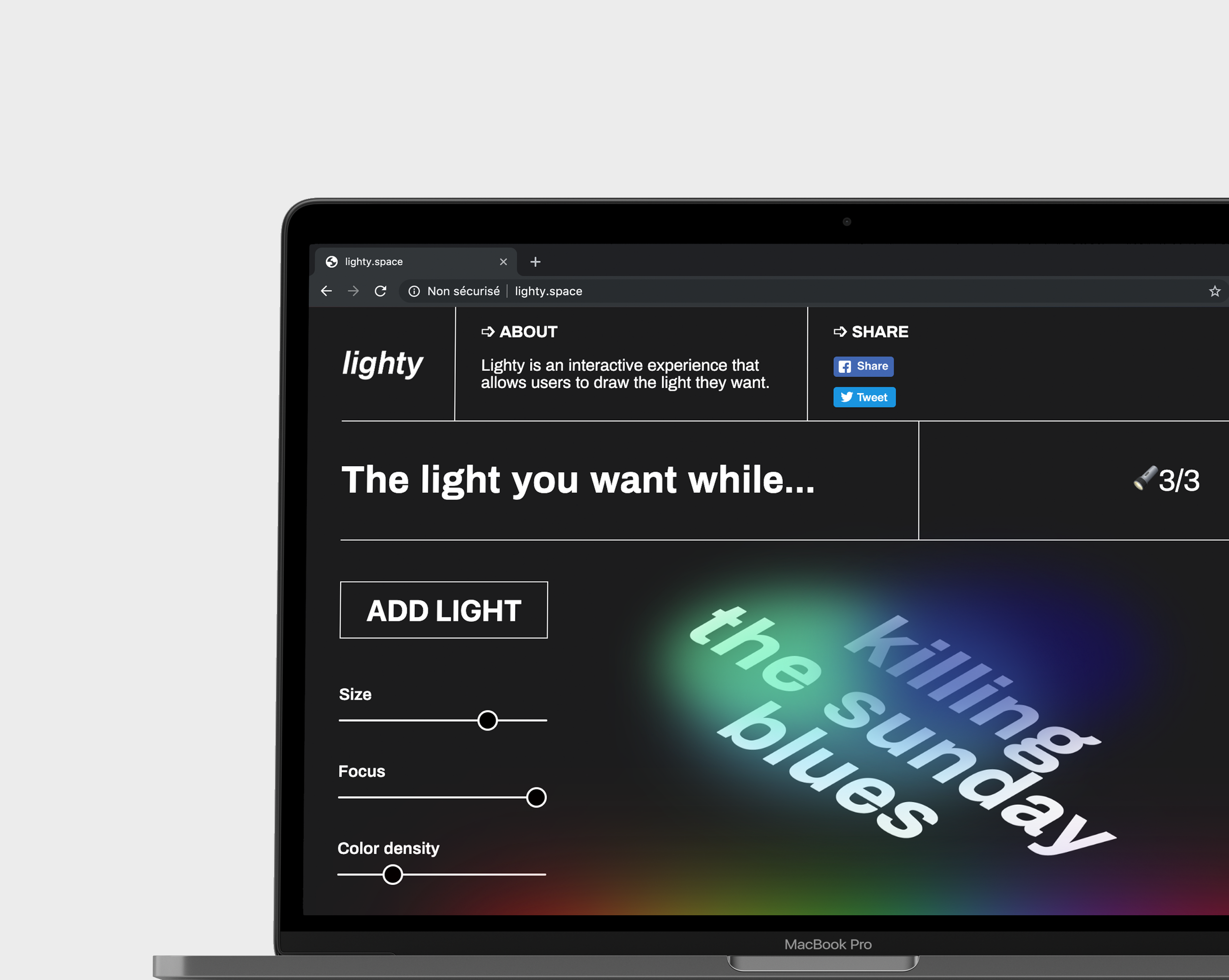 Lighty, the lighting simulator we designed. Users set up the lights thanks to a simple simulation.