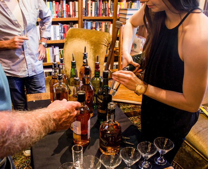Irish whiskey sampling at Aspen's Explore Booksellers event for David's first novel,  FORTUNATE SON