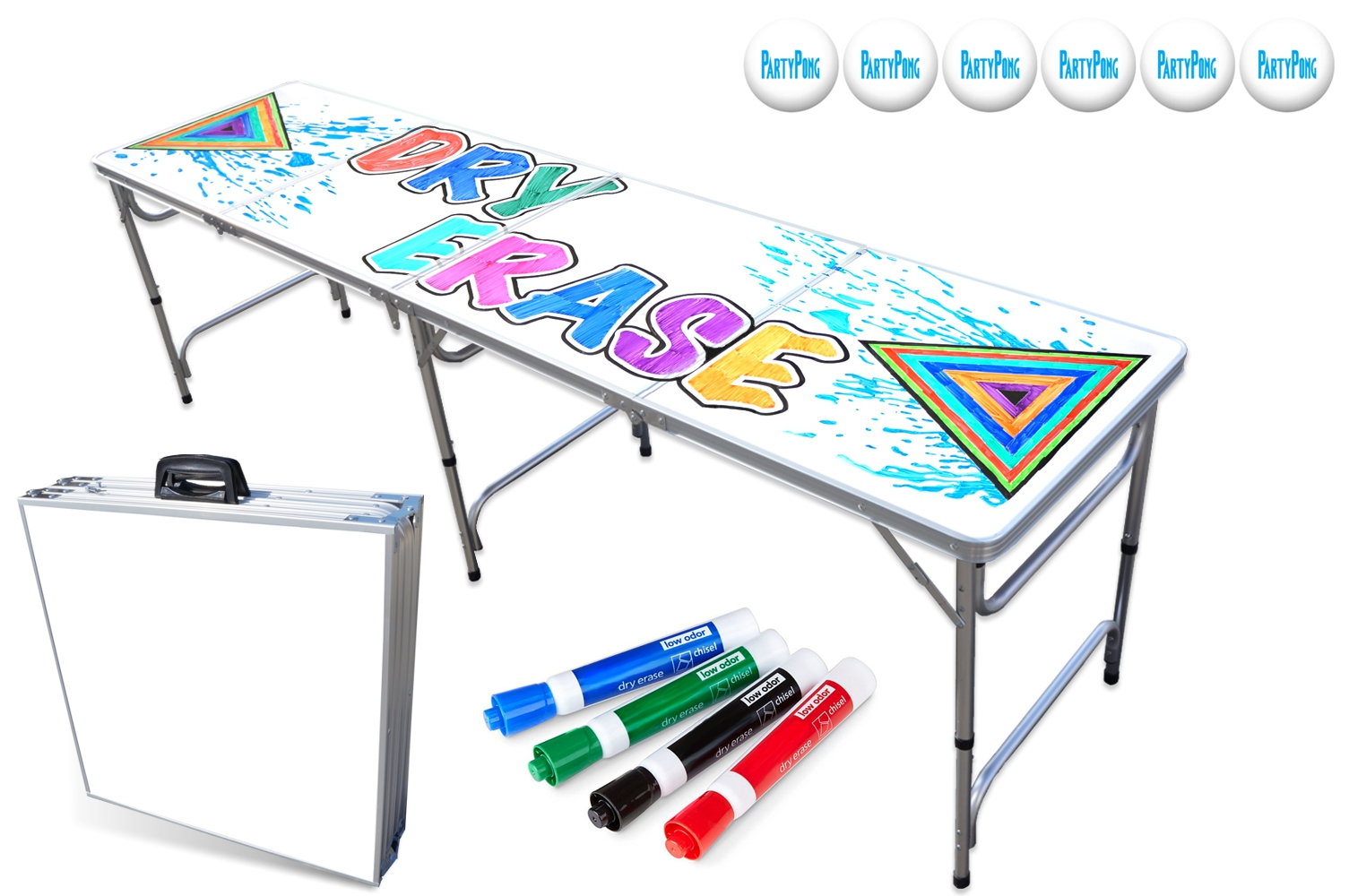 8' folding beer pong tables - Party Pong has been the #1 selling beer pong table since 2006. Our tables feature dry erase surfaces, LED Lights, Cup Holes, and Custom Full Color Graphics.