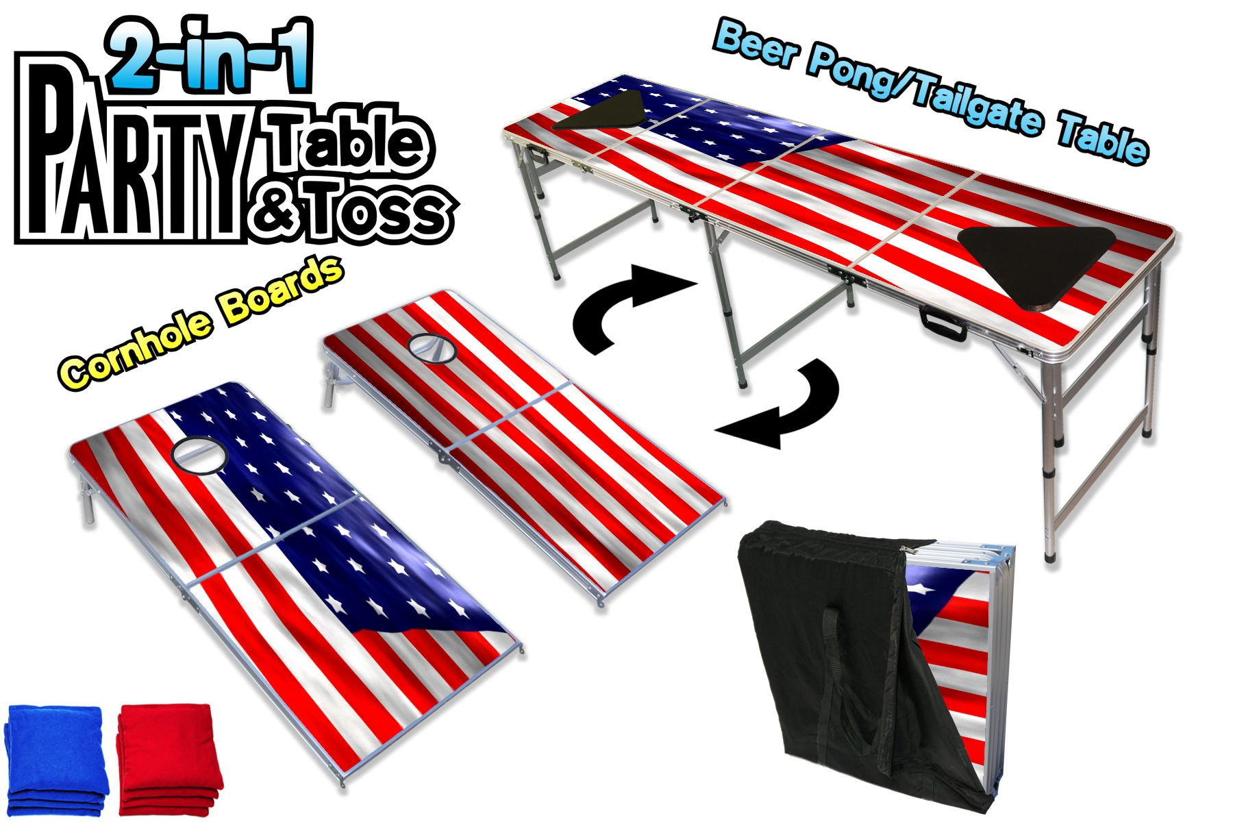 2-in-1 party table & Toss - The 2-in-1 Party Pong Table & Toss combines 2 products into one portable and affordable party companion. With patent-pending design, the Party Pong Table & Toss quickly converts from Party Toss Boards to Party Pong Table in 1 min.