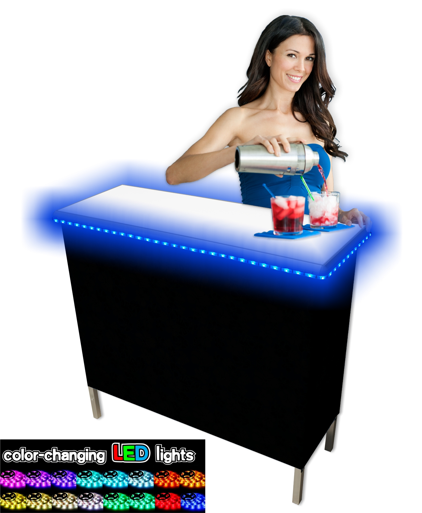 portable party bar - The Party Bar Portable Bar is a must-have at any party, tailgate, or event where drinks are to be enjoyed. The Portable Party Bar comes with a nylon carrying case with shoulder straps for convenient portability and also keeps your Party Bar protected while in storage. Color-Changing LED Glow Lights add an awesome lighting effect to your Portable Party Bar.